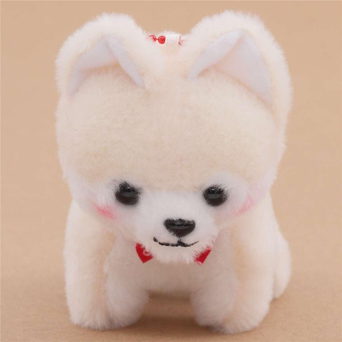 Small Cream White Dog Red Bow Tie Chain Mameshiba San Kyodai Plush