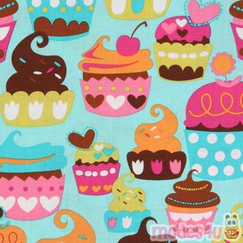 Turquoise Michael Miller Fabric Sweet Treats Cupcakes Modes4u