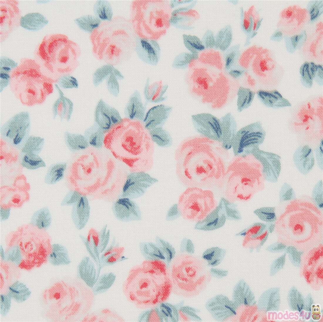 Retro Flowers in Pink Red /& Green on Cream Cotton Fabric Michael Miller FQ