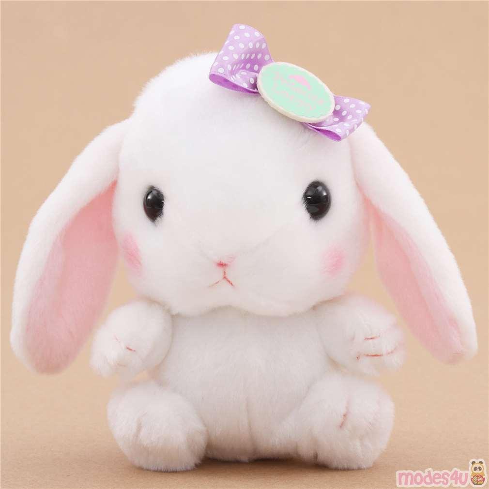 White Bunny Rabbit Purple Bow Poteusa Loppy Plush Toy From Japan