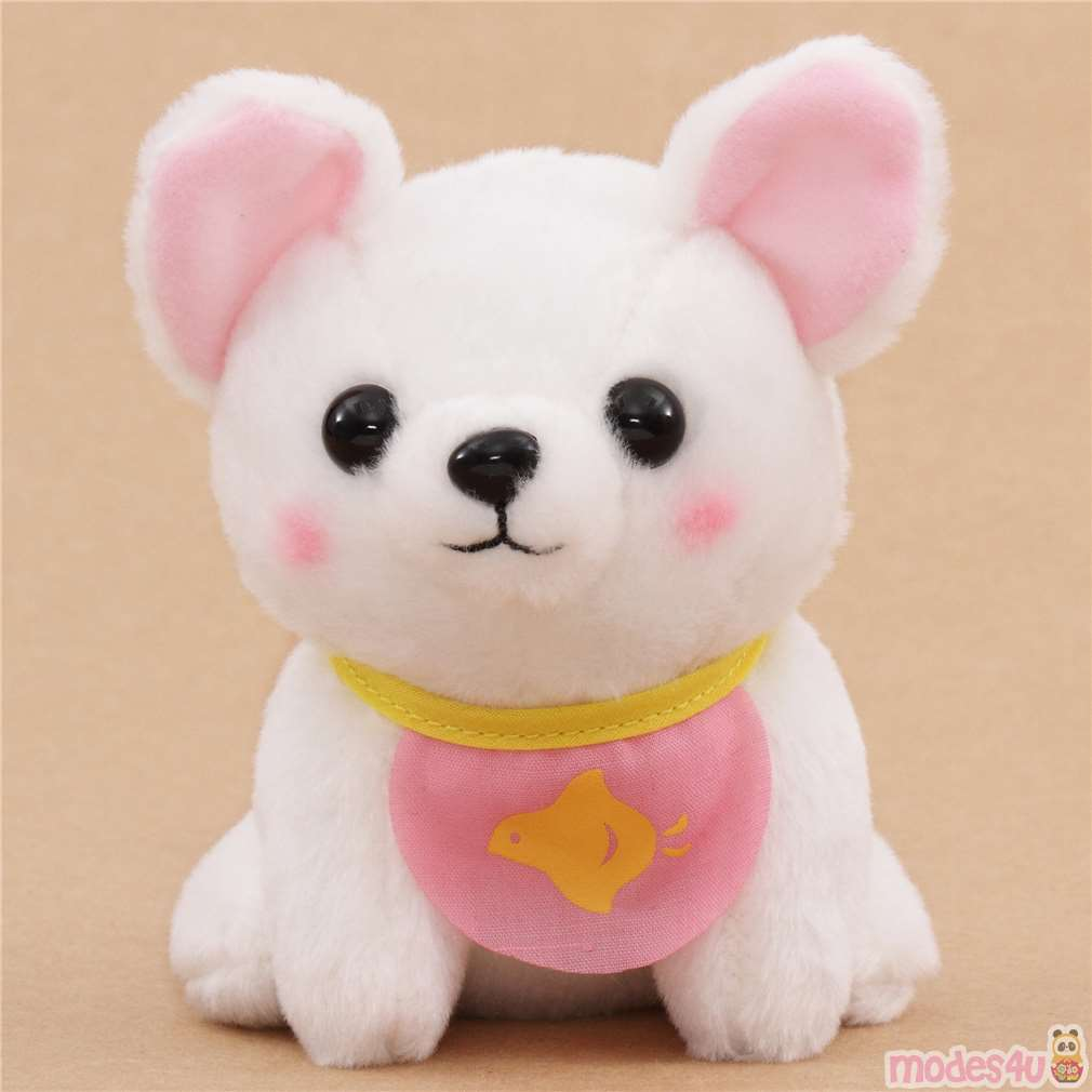 White Cute Mameshiba San Kyodai Pink Bib Dog Plush Toy From Japan