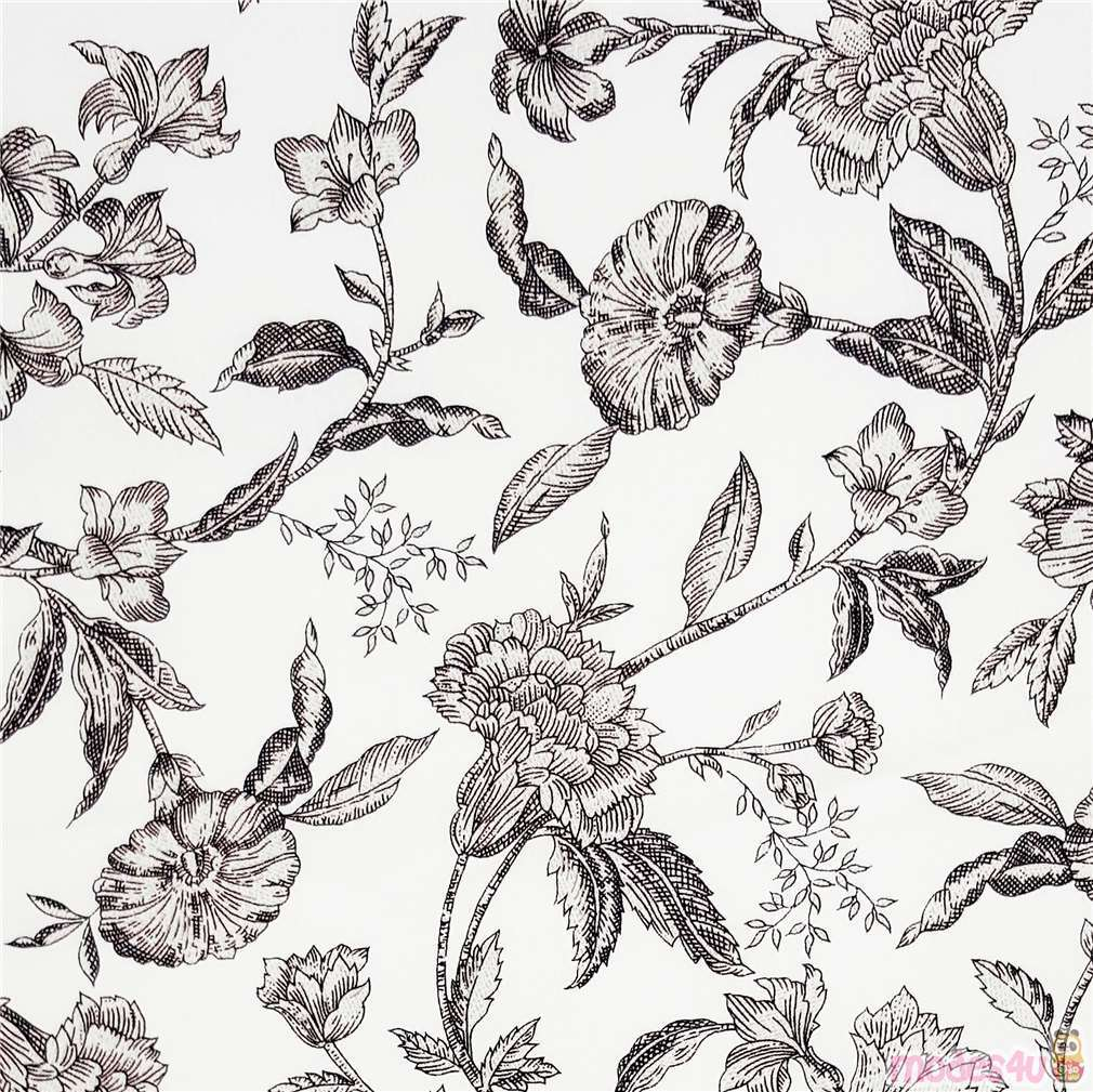 White Vintage Jacobean Flower Pattern Fabric By Timeless Treasures