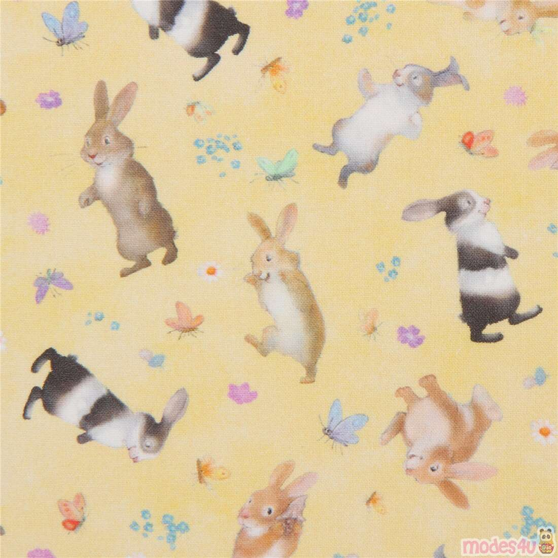 Yellow Fabric With Tossed Bunny Rabbits By Michael Miller Modes4u