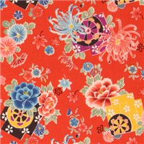 japanese flowers kokka fabric from japan red flower fabric