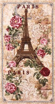 Beige Paris Eiffel Tower Roses Panel Vintage Fabric