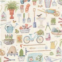 Beige With Garden Tool Fabric Andover USA Antique Garden 2017