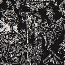 schwarzer stoff mit tanzenden skeletten und blumen von alexander henry karneval stoffe. Black Bedroom Furniture Sets. Home Design Ideas
