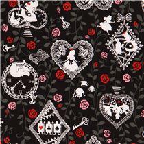 tissu noir motifs blanc gris alice au pays des. Black Bedroom Furniture Sets. Home Design Ideas