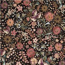 schwarzer robert kaufman goldmetallischer blume blatt stoff blumenstoffe stoffe kawaii. Black Bedroom Furniture Sets. Home Design Ideas