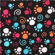 Black Cat Paw Print Fabric By Quilting Treasures Animal