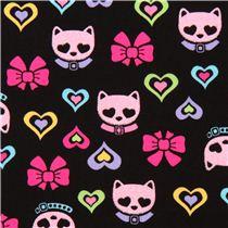 Tela negra brillo cabeza gato lazo de timeless treasures telas con animales textiles - Cabezas animales tela ...