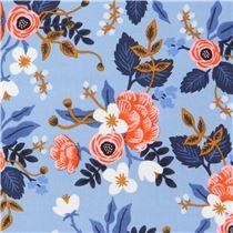 blauer stoff mit bl ttern bl ten von cotton steel blumenstoffe stoffe kawaii shop modes4u. Black Bedroom Furniture Sets. Home Design Ideas