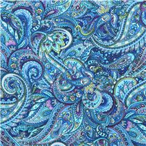 Blue Paisley Pattern Fabric Timeless Treasures Packed