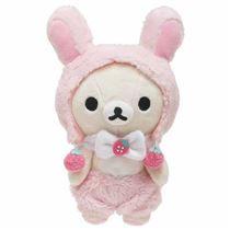 cute korilakkuma teddy bear in bunny rabbit costume strawberry by