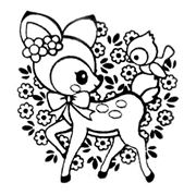 coloring pages of squishies | cute deer stamp with bird flowers kawaii Japan - Stamps ...