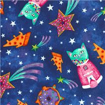 Dark blue fabric with funny colorful cat dessert space by for Space pizza fabric