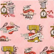Pink In The Kitchen Vintage Appliances Fabric By Robert Kaufman USA