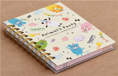 cute beige panda and mouse animal party ring binder notebook Japan 2