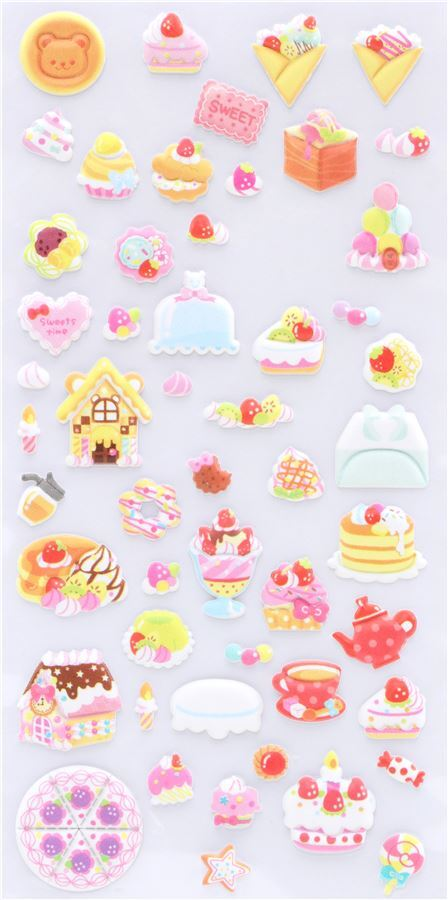 Cute kawaii import *Cakes and Ice Creams* sheet of squishy cute stickers