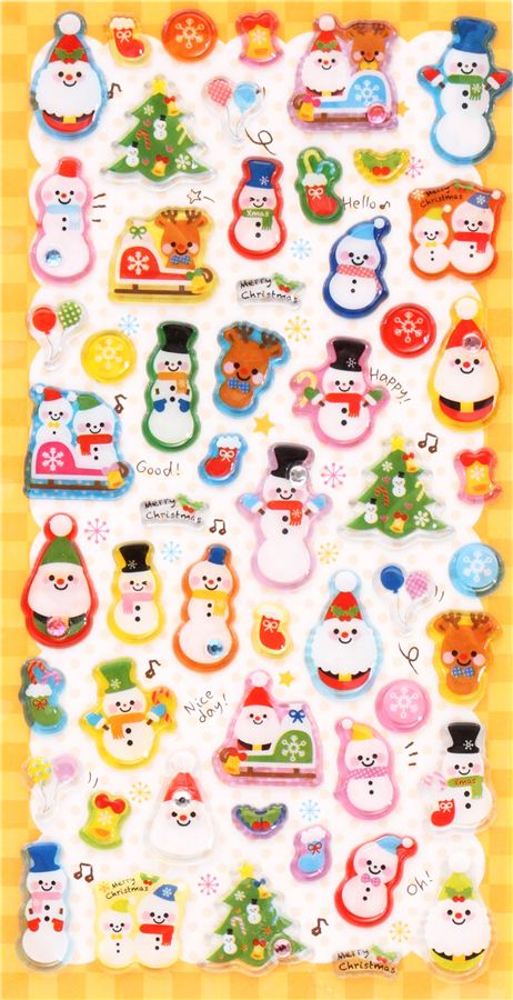 3d Christmas Stickers With Kawaii Snowmen From Japan