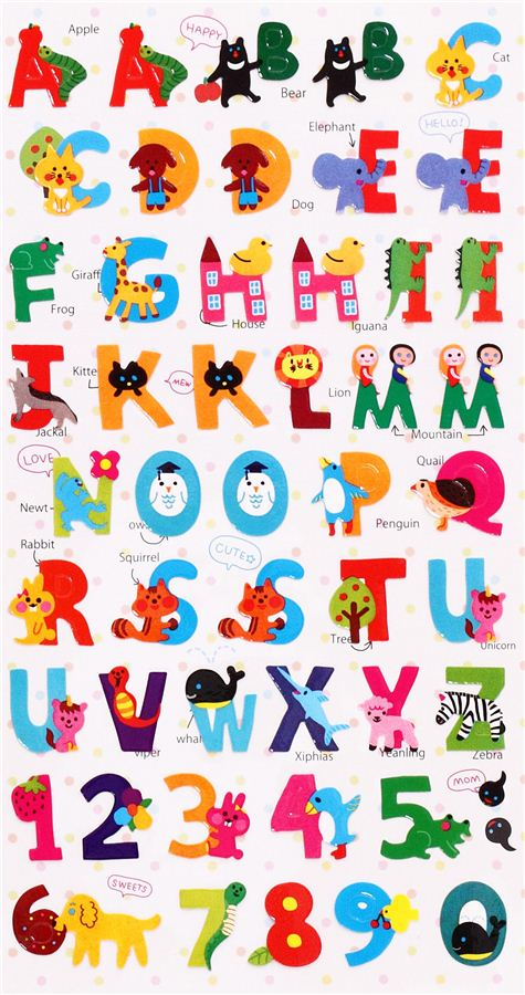Célèbre ABC animals alphabet stickers from Japan - Animal Stickers  PY57