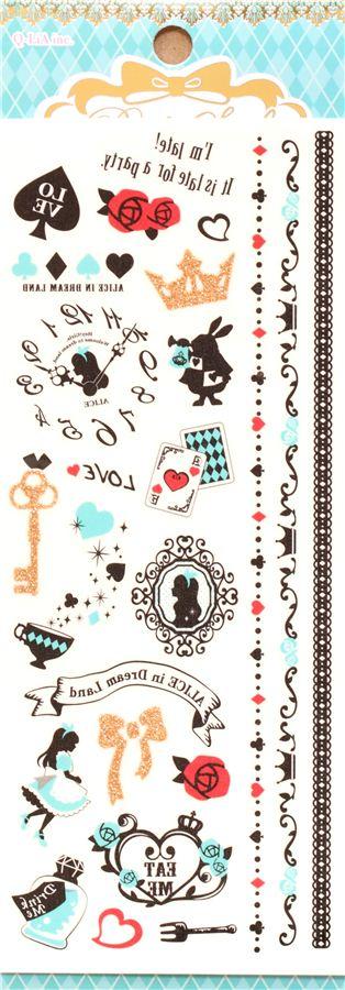 tatouages temporaires alice au pays des merveilles contes planches d 39 autocollants. Black Bedroom Furniture Sets. Home Design Ideas