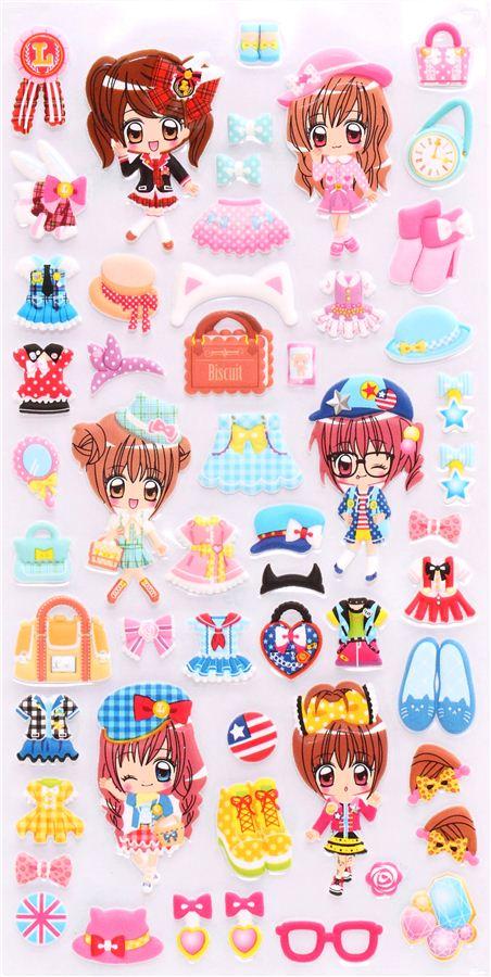 anime fashion girls 3d sponge sticker book set by kamio cute