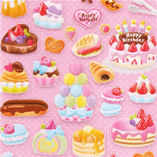 Birthday Cake Puffy Sponge Glitter Stickers And Sticker Book From