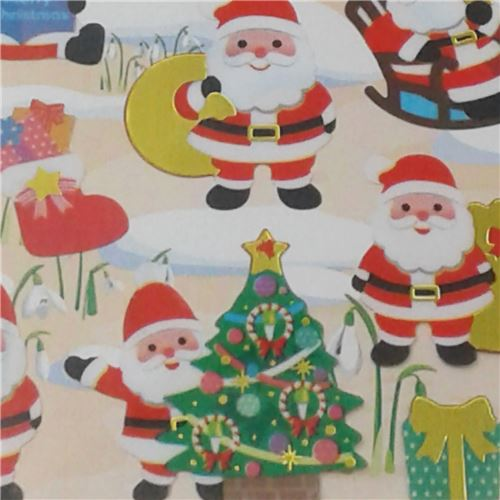 Pegatinas Navidenas De Colores Con Papa Noel Celebrando La Navidad