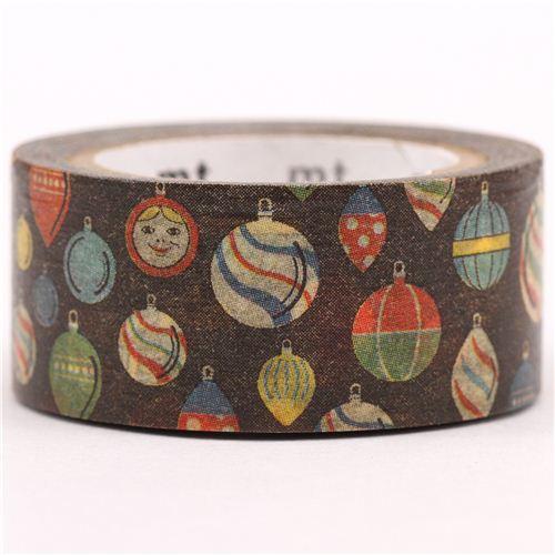 Nastro adesivo decorativo washi ornamenti albero di natale mt oro metallizzato nastri adesivi - Nastri decorativi natalizi ...