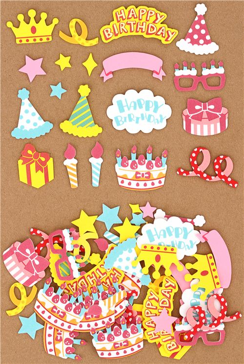 Congrats Happy Birthday Sponge Sticker Sack Sticker