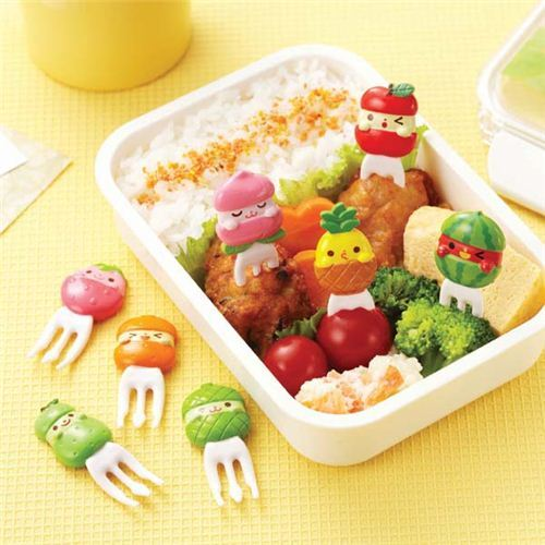 cute fruit friends food picks forks for bento box lunch box bento accessories bento boxes. Black Bedroom Furniture Sets. Home Design Ideas