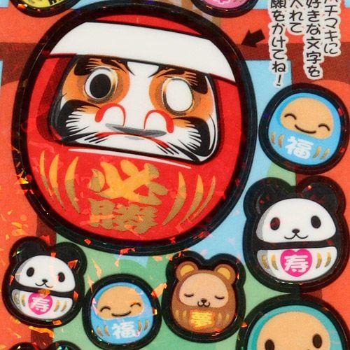 Daruma doll glitter sticker japanese talisman 1
