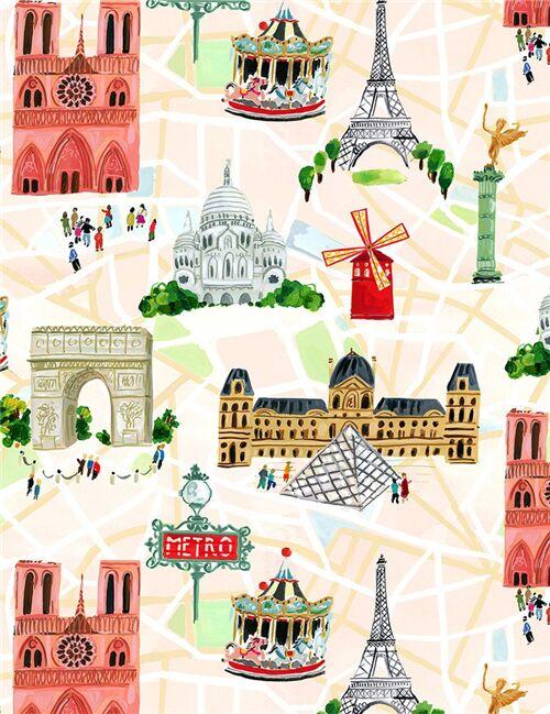 Parigi Cartina Monumenti.Tessuto Bianco Panna Dear Stella Mappa Parigi Monumenti Torre Eiffel Modes4u