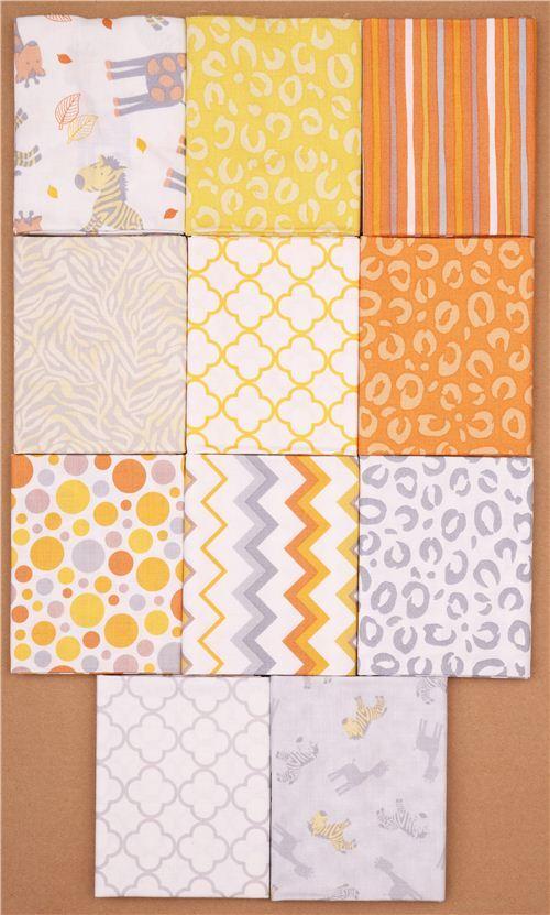 lot de coupons fat quarter orange quilting treasures animaux coupons de tissus tissus. Black Bedroom Furniture Sets. Home Design Ideas