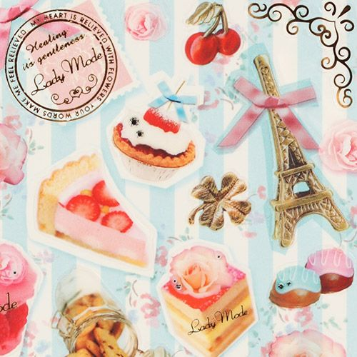 France sticker with eiffel tower pastry roses cherries 1