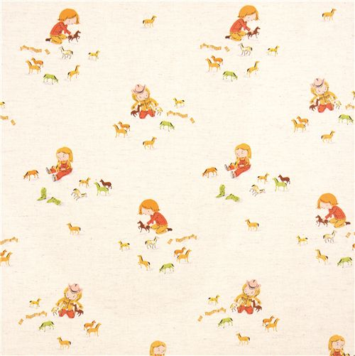 Heather ross canvas fabric child horses far far away 3 for Children s upholstery fabric