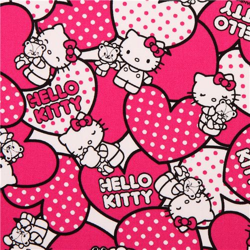 hello kitty oxford fabric pink hearts by sanrio from japan hello