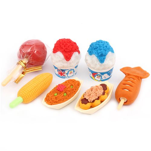 Iwako erasers japanese festival food 7 pieces set food for 3 pieces cuisine