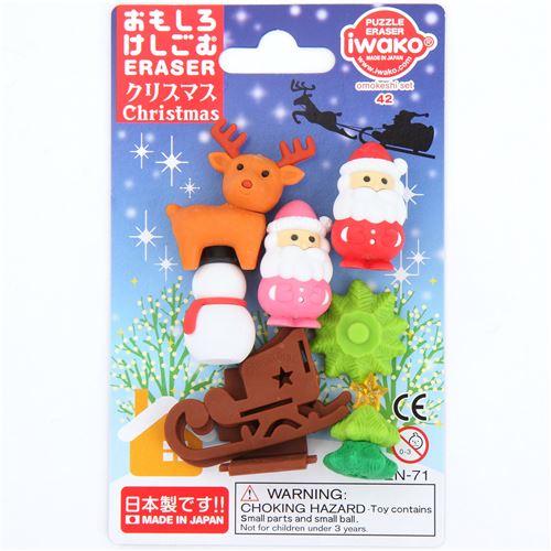 iwako erasers santa snowman reindeer christmas 6 pieces set 4 - Santa Snowman