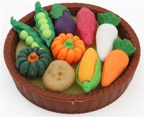 Merveilleux Iwako Erasers Corn Carrot Pumpkin Vegetable Basket Set 11 Pieces From Japan  1