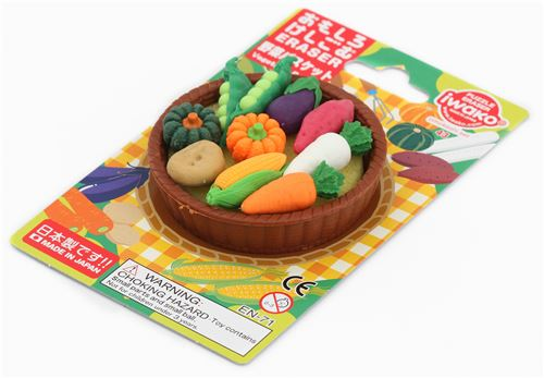 Iwako Erasers Corn Carrot Pumpkin Vegetable Basket Set 11 Pieces From Japan  3