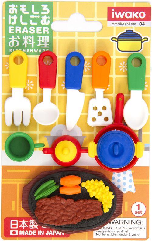 Iwako Erasers Kitchenware 10 Pieces Rubber Set Food
