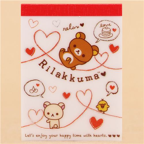 Japanese white rilakkuma bear chick hearts mini note pad san x japanese white rilakkuma bear chick hearts mini note pad san x 1 m4hsunfo