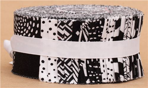 Jelly Roll Fabric Bundle Roll Black Amp White Michael Miller