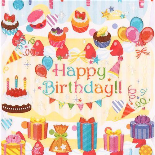 Pegatinas Kamio Happy Birthday Cumpleanos Vela Tarta Cupcake Regalo