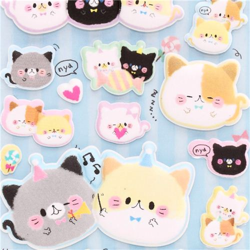 Kamio round cats animal puffy sponge stickers from japan 1