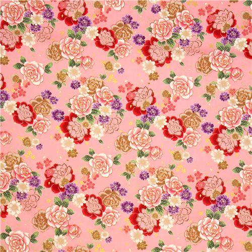Kokka pale pink cherry blossom rose flower fabric with gold flower kokka pale pink cherry blossom rose flower fabric with gold 3 mightylinksfo
