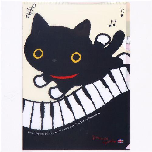 Kutusita Nyanko Cat A4 Plastic File Folder Piano