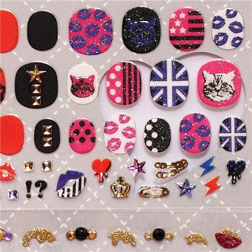 London cat lips fingernail glitter stickers from Japan - modeS4u